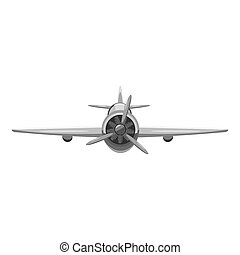 Airplane front view icon, gray monochrome style - Airplane...