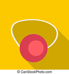 Clown nose icon, flat style - Clown nose icon. Flat...