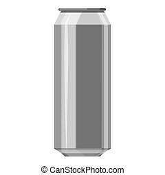 Aluminum beer can icon, gray monochrome style