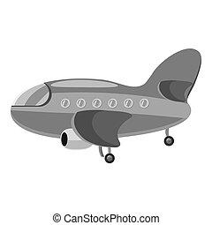 Airplane icon, gray monochrome style - Airplane icon. Gray...