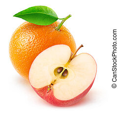 Isolated orange and half of red apple - Isolated fruits....