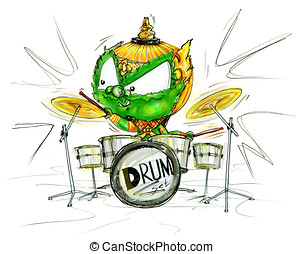 Siam Gumphant Playing Drum Set Show Cartoon color - Thai...