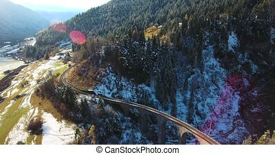 beautiful Viaduct in Switzerland, aerial view - beautiful...