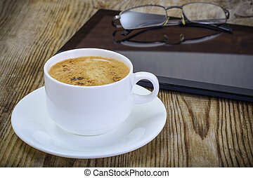 Workplace businessman: laptop, coffee and sunglasses -...