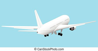 Vector plane takeoff - White passenger plane is taking off...
