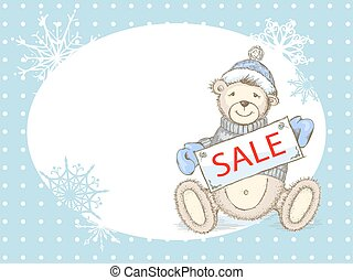 Vector Winter Sale Card with toy bear