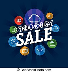 Cyber monday sale shopping tag vector illustration