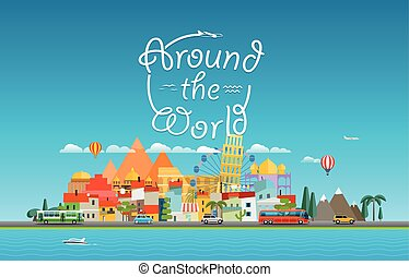 Around the world travelling concept. Asia cityscape Vector travel illustration
