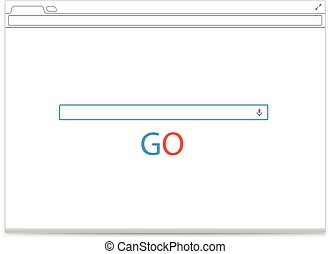 Opened browser vector template with search tab. Vector...