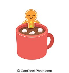 Gingerbread man cookie in hot chocolate cup - Gingerbread...