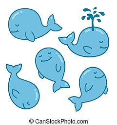Cartoon whale set