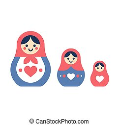 Matryoshka dolls set - Set of Russian nesting dolls,...