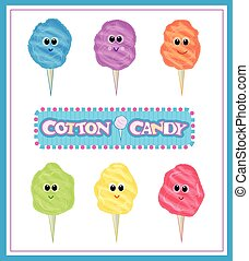 Cotton Candy Set - Cute set of six colorful cotton candies...