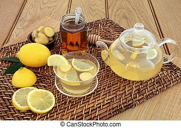 Honey Lemon and Ginger Drink - Honey, lemon and ginger drink...