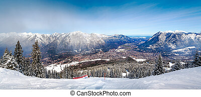 Panoramic views of the Alps and Garmisch-Partenkirchen....