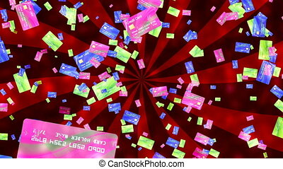 Abstract Loopable Background with nice flying credit cards -...