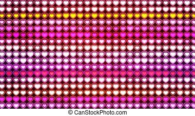 Abstract Loopable Background, flashing wall of hearts