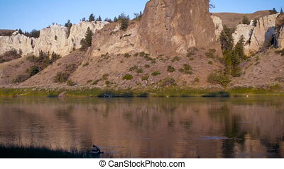 White cliffs along the Missouri river and Lewis and Clark...
