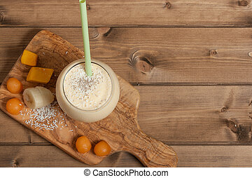 Smoothie With Banana, Mango, Melon, Desiccated Coconut, Chia...