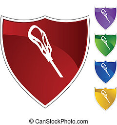 Lacrosse Stick - Lacrosse stick icon button isolated on a...
