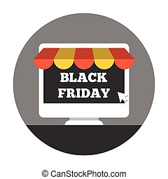 Online shoping on black friday - Desktop with awning. Online...