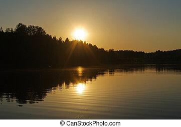 reflexión, encima, lago, agua, ocaso, naranja, rojo