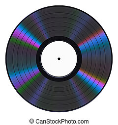 Vinyl Record On White Background. 3D Illustration.