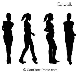 woman in Catwalk pose - EPS 10 vector illustration of woman...