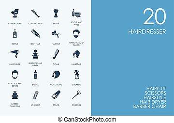 Błękitny, komplet, ikony, Fryzjer, Biblioteka, chomik
