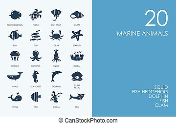 Set of BLUE HAMSTER Library marine animals icons - BLUE...