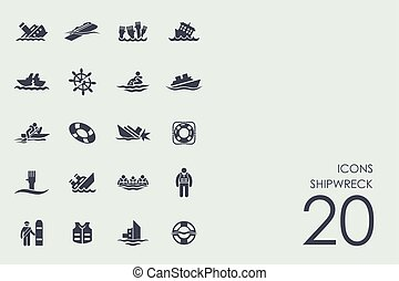Set of shipwreck icons - shipwreck vector set of modern...