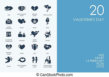 Set of BLUE HAMSTER Library Valentine's Day icons - BLUE...