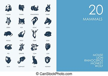 Set of BLUE HAMSTER Library mammals icons - BLUE HAMSTER...