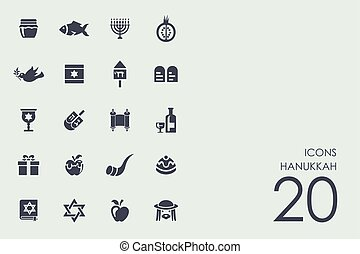 Set of Hanukkah icons - Hanukkah vector set of modern simple...