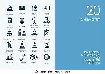 Set of BLUE HAMSTER Library chemistry icons - BLUE HAMSTER...