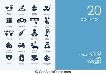 Set of BLUE HAMSTER Library donation icons - BLUE HAMSTER...