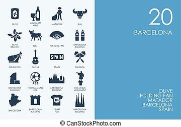 Set of BLUE HAMSTER Library Barcelona icons - BLUE HAMSTER...
