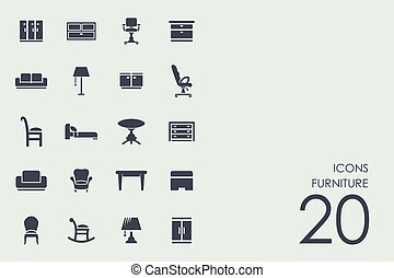 Set of furniture icons - furniture vector set of modern...