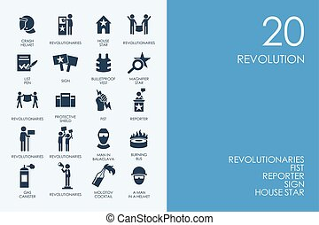 Błękitny, komplet, ikony, Biblioteka, rewolucja, chomik