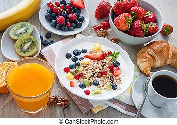 Yogurt with muesli and fresh fruits