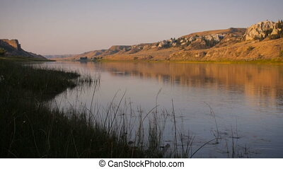 Missouri River in Montana at sunrise - Lock down shot of the...