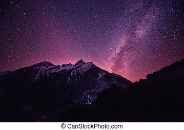 Rich star sky in Nepal mountains - Rich violet star sky in...