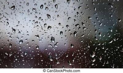 Sadness written on rainy window - Sadness written on a rainy...