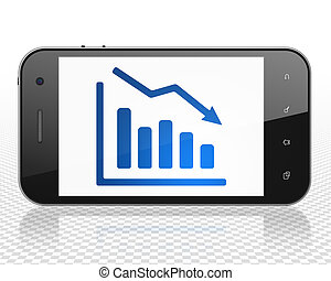 Business concept: Smartphone with Decline Graph on display -...