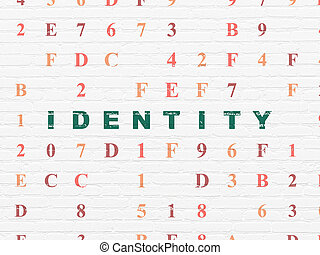 Protection concept: Identity on wall background - Protection...