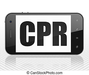Health concept: Smartphone with CPR on display - Health...