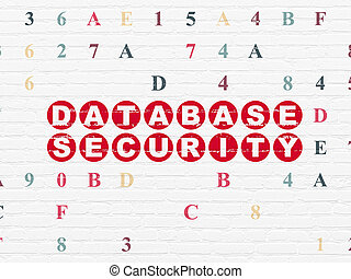 Privacy concept: Database Security on wall background -...
