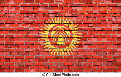 Flag of Kyrgyzstan on a brick wall