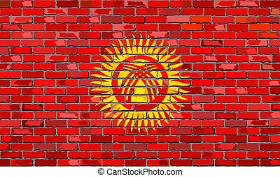 Flag of Kyrgyzstan on a brick wall - Illustration, Kyrgyz...