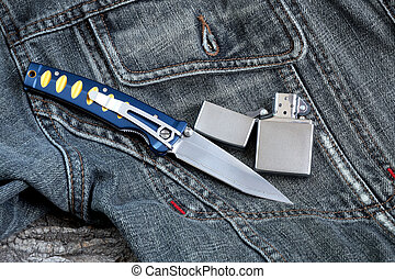 Gentlemen's set - Penknife with a blade from Damask steel...